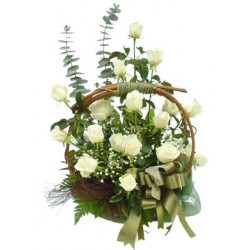 Basket white roses