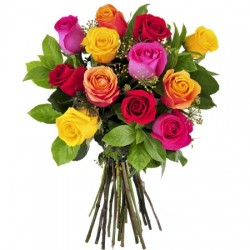 12 Mix roses in Bouquet