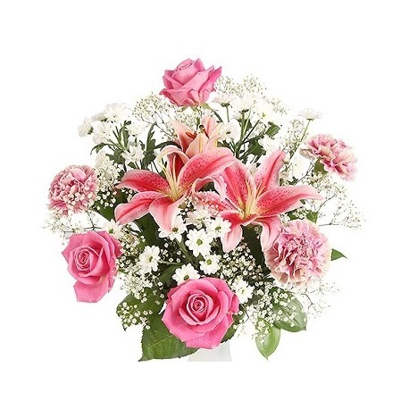 Bouguet Liliies and Roses pink - White
