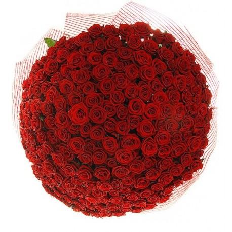 Μπουκέτο με 201 κόκκινα τριαντάφυλλα