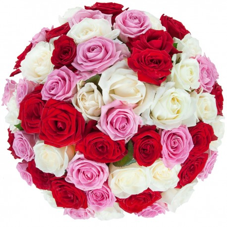 Bouquet with 54 pink - white & red roses