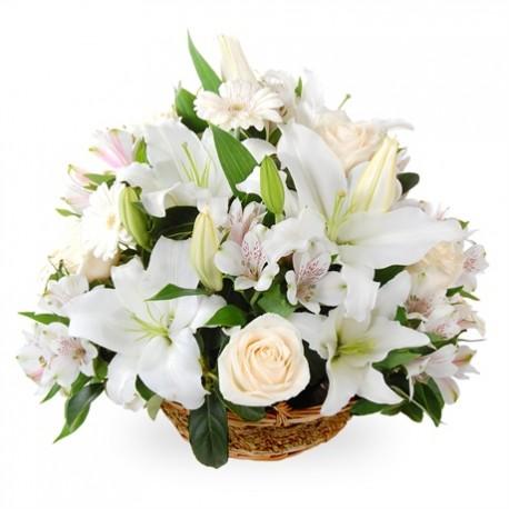 White flowers in flower basket