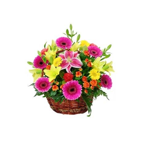 Mixed flowers in flower basket