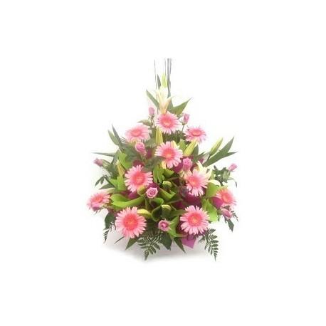 Flower basket pink flowers Greece