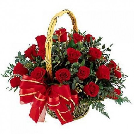 Romantic flowers with red roses