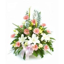 Flower basket white & pink