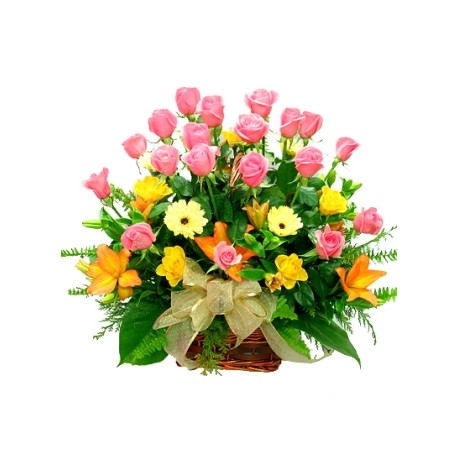 Flower Basket with Roses, Lilies, Gerberas