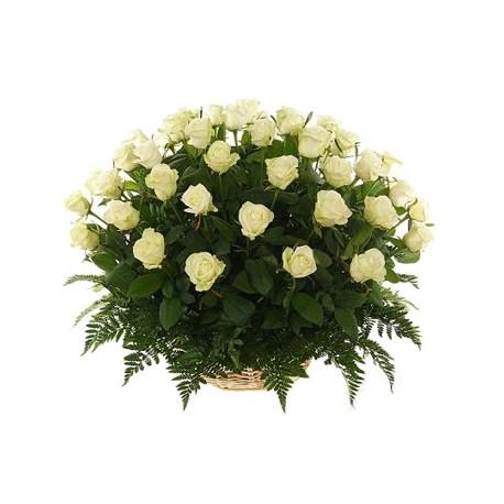 Flower basket 35 white roses