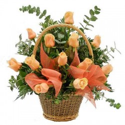 Basket Orange Roses - Delivery Patras city