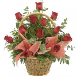 Flower basket red roses - Delivery Patras city