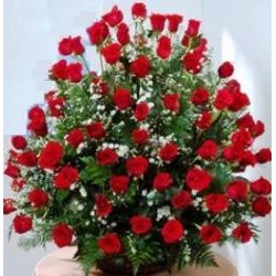 Flower Basket red Roses - Florist Patras city
