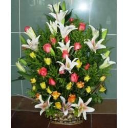 Basket lilies oriental - Roses, solitago  - Florist Patras city