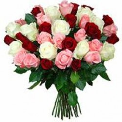 Bouquet white - red Roses  - Florist Patras city
