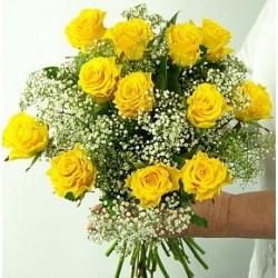 Μπουκετο με κίτρινα Τριαντάφυλλα  - Τιμη ανθοπωλειου Πατρας
