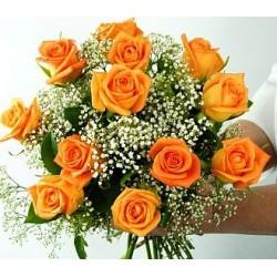 Μπουκετο πορτοκαλι Τριαντάφυλλα  - Τιμη ανθοπωλειου Πατρας