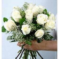 Μπουκετο λευκα Τριαντάφυλλα  - Τιμη ανθοπωλειου Πατρας
