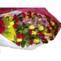 Ανθοδεσμη 50 διαφορα Τριανταφυλλα & ορχιδεα  - Τιμη ανθοπωλειου Πατρας