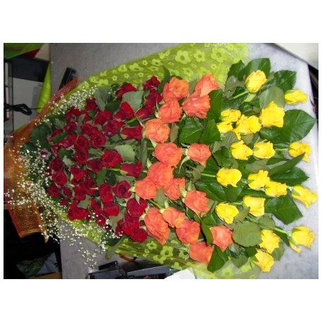 100 Mix roses bouquet - Florist Patras city
