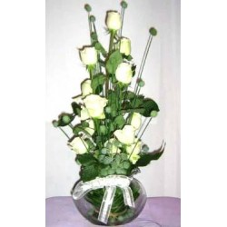 White roses in vase - Delivery Patras city