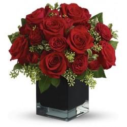 Βαζο με κοκκινα  τριανταφυλλα - Τιμη ανθοπωλειου Πατρας