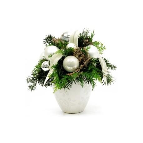 Σύνθεση Χριστουγέννων σε πήλινο κασπό