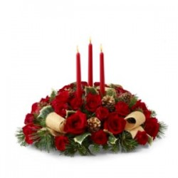 Christmas arrangement red roses