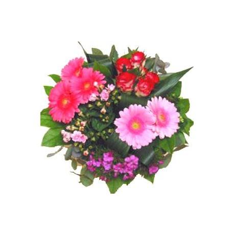 Μπουκετο με τριανταφυλλα και ζερμπερες