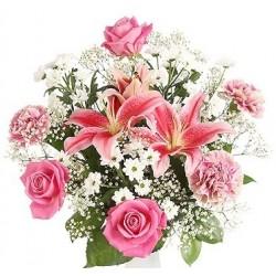 Μπουκετο με Λιλιουμ και Τριανταφυλλα σε λευκο ροζ