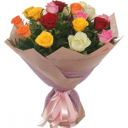 Bouquet with 19 mixed colour roses