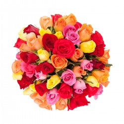51 mixed colour roses in bouquet