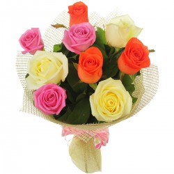 9 Mix roses in Bouquet