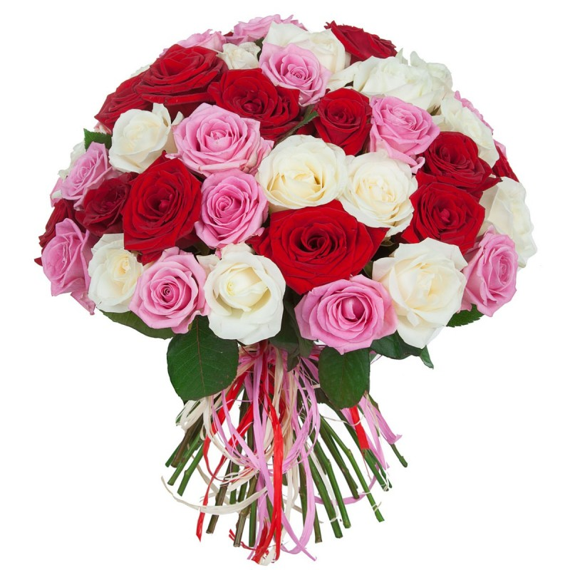 Bouquet with 54 red white pink roses florist in greece milva bouquet with 54 pink white red roses mightylinksfo